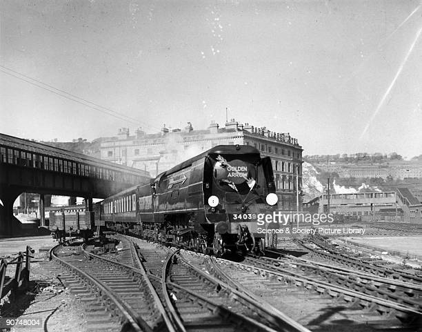 British Railways West Country Class 462 steam locomotive No 34039 'Boscastle' at Dover with the Golden Arrow crossChannel boat train service...