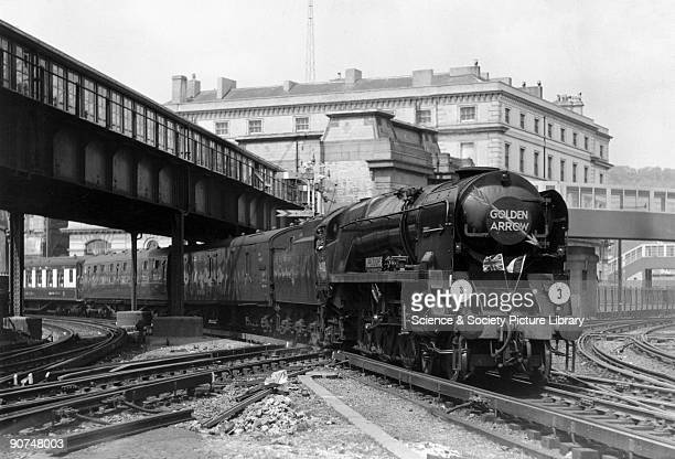 British Railways West Country Class 4-6-2 steam locomotive No 34100 'Appledore' at Dover with the Golden Arrow cross-Channel boat train service....