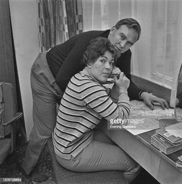 British rally driver Pat Moss and her husband, Swedish rally driver Erik Carlsson , UK, 11th November 1964.