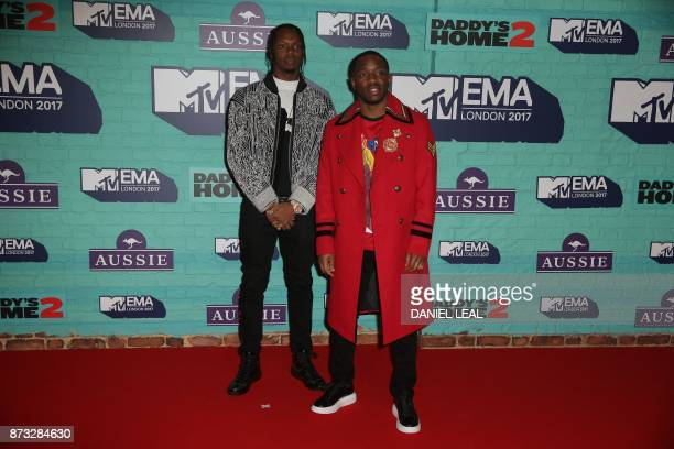 British rap duo Krept Konan pose on the red carpet arriving to attend the 2017 MTV Europe Music Awards at Wembley Arena in London on November 12 2017...