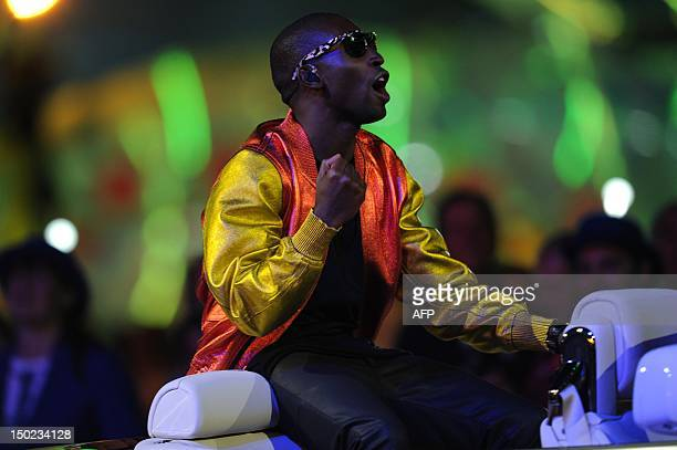 British rap singer Tinie Tempah performs at the Olympic stadium during the closing ceremony of the 2012 London Olympic Games in London on August 12,...