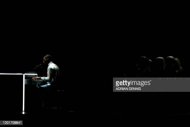 British rapper Dave performs during the BRIT Awards 2020 ceremony and live show in London on February 18 2020 / RESTRICTED TO EDITORIAL USE NO...