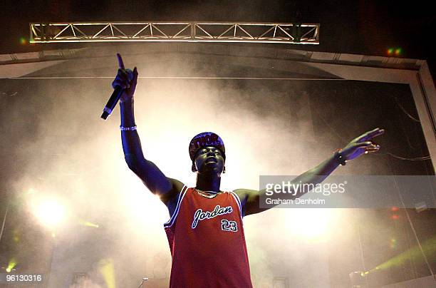 British rapper Dizzee Rascal performs on stage in concert at the Enmore Theatre on January 24 2010 in Sydney Australia