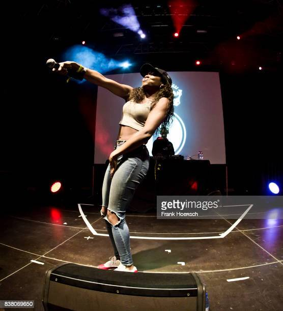 British rapper Lady Leshurr performs live on stage during the Festival PopKultur at the Kulturbrauerei on August 23 2017 in Berlin Germany