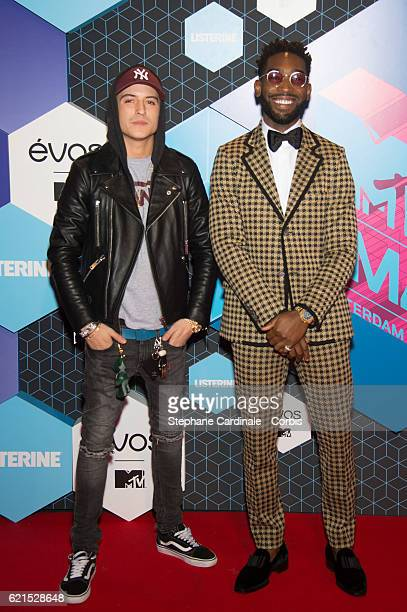 British rapper Tinie Tempah and Netherlands' actor Lil Kleine attend the MTV Europe Music Awards 2016 on November 6 2016 in Rotterdam Netherlands
