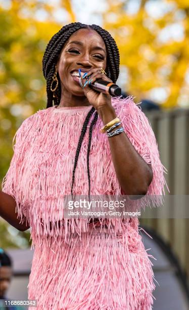 British R&B and Rap musician, producer, and actress Estelle performs onstage at the VP Records 40th anniversary celebration at Central Park...