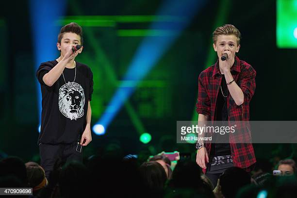 British RB and rapping duo Bars and Melody perform on stage during We Day at KeyArena on April 23 2015 in Seattle Washington