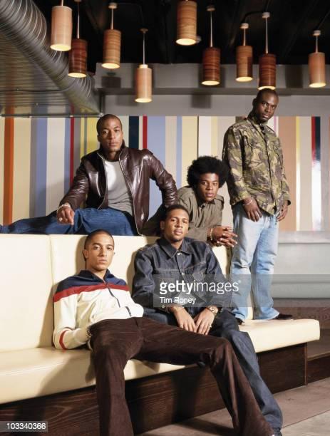 British R&B boy band Damage, circa 1997. They are Jade Jones, Andrez Harriott, Coree Richards, Rahsaan J. Bromfield and Noel Simpson.