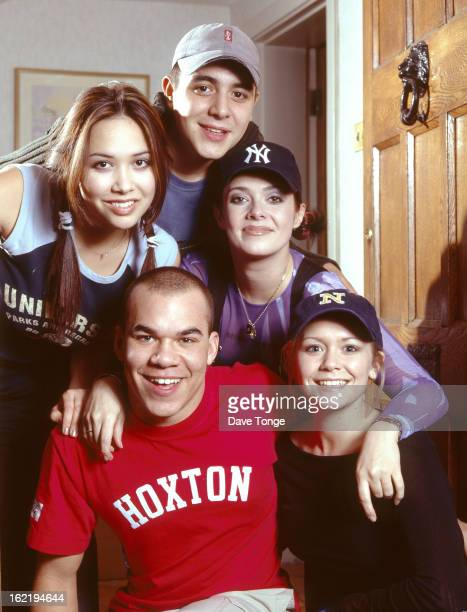 British reality TV pop group Hear'Say pose for a group portrait in London February 2001 Clockwise from bottom left Danny Foster Myleene Klass Noel...