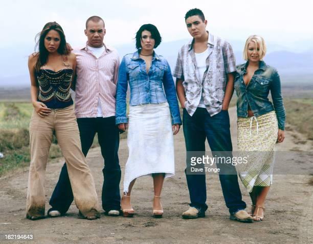 British reality TV pop group Hear'Say pose for a group portrait UK 2001 LR Myleene Klass Danny Foster Kym Marsh Noel Sullivan and Suzanne Shaw