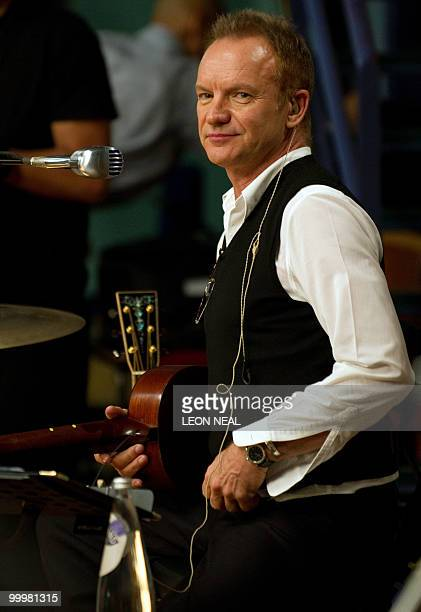 British recording artist Sting rehearses with the Royal Philharmonic Orchestra at Abbey Road Studios in west London on May 19 2010 as he releases...