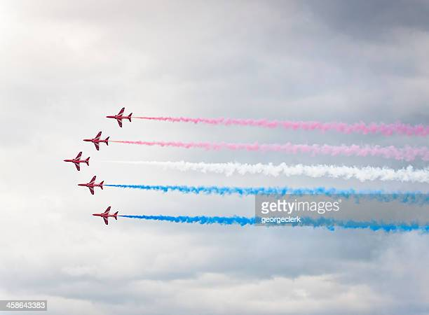 british red arrows aerobatic display - armed forces day stock pictures, royalty-free photos & images