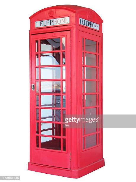 british red phone booth - isolated - telephone booth stock pictures, royalty-free photos & images