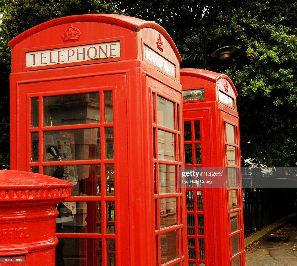 British red telephone boxes and post box : Stock Photo
