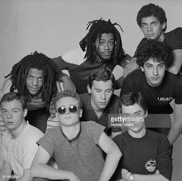 British reggae and pop group UB40 1983 Clockwise from bottom left singer Ali Campbell trumpeter Astro bassist Earl Falconer keyboard player Mickey...