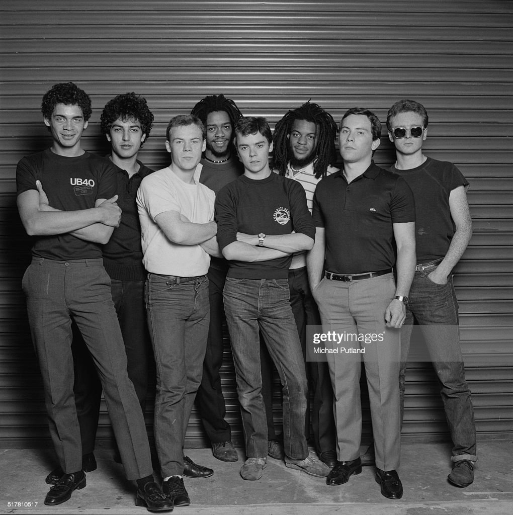 British reggae and pop group UB40, 1983. Left to right: keyboard player Mickey Virtue, drummer Jimmy Brown, singer Ali Campbell, bassist Earl Falconer, trombonist Norman Hassan, trumpeter Astro (Terence Wilson), guitarist Robin Campbell and saxophonist Brian Travers.