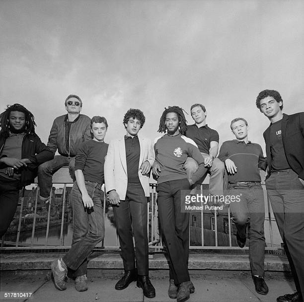 British reggae and pop group UB40 1983 Left to right trumpeter Astro saxophonist Brian Travers trombonist Norman Hassan drummer Jimmy Brown bassist...