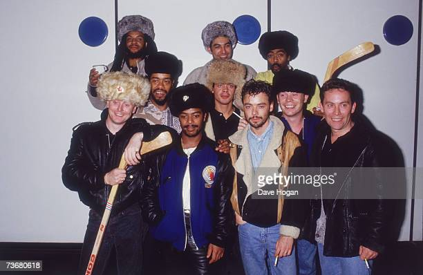 British reggae band UB40 at Heathrow Airport London on their return from a series of concerts in Russia 21st October 1986