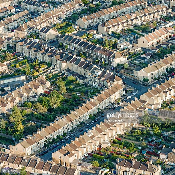 British residential streets from above
