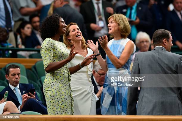 British retired athlete Denise Lewis , British retired ballerina Darcey Bussell and British television journalist Fiona Bruce talk together in the...