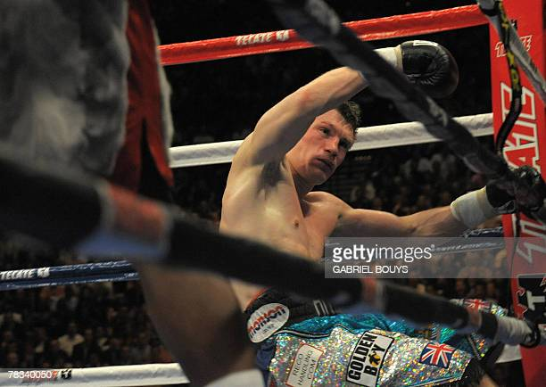 British Ricky Hatton falls by KO during his fight against US Floyd Mayweather Jr. At the MGM Grand Garden Arena in Las Vegas, Nevada, 08 December...