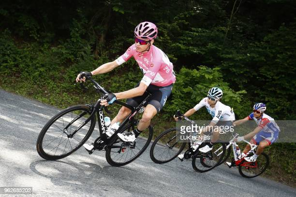British rider and pink jersey leader Christopher Froome rides during the the 20th stage from Susa to Cervinia in the 101th Giro d'Italia, Tour of...