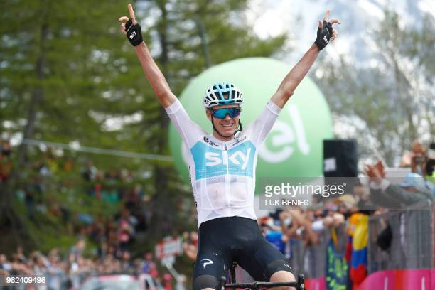 TOPSHOT British rider Christopher Froome crosses the finish line and wins the 19th stage from Venaria Reale to Bardonecchia during the 181km in the...