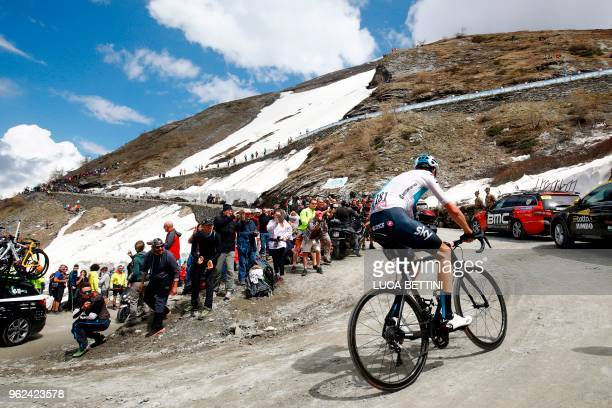 British rider Christopher Froome in action in action on the gravel of the Colle delle Finestre in the 19th stage from Venaria Reale to Bardonecchia...