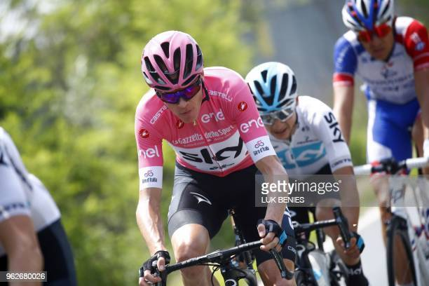 British rider Christopher Froome rides during the the 20th stage from Susa to Cervinia in the 101th Giro d'Italia Tour of Italy on May 26 2018 in...