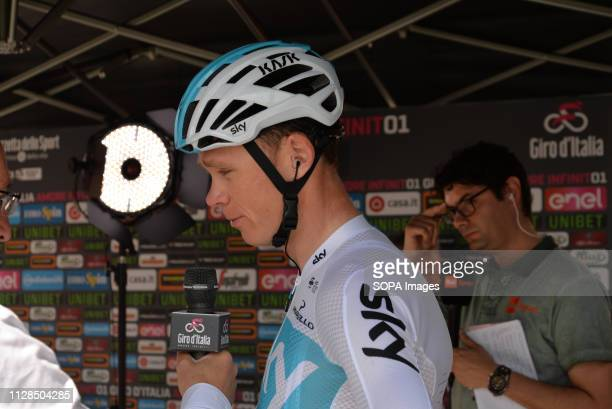 British rider Christopher Froome seen speaking to media after wining the 19th stage from Venaria Reale to Bardonecchia during the 181km in the 101st...