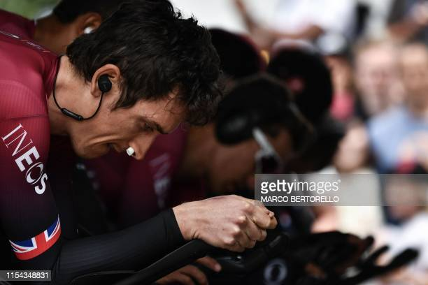 British rider Geraint Thomas trains before the second stage of the 106th edition of the Tour de France cycling race a 276km team timetrial in...