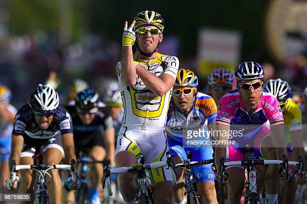 British rider Mark Cavendish of the ColumbiaHTC team gestures as he celebrates after winning the second stage of the UCI protour Tour de Romandie...