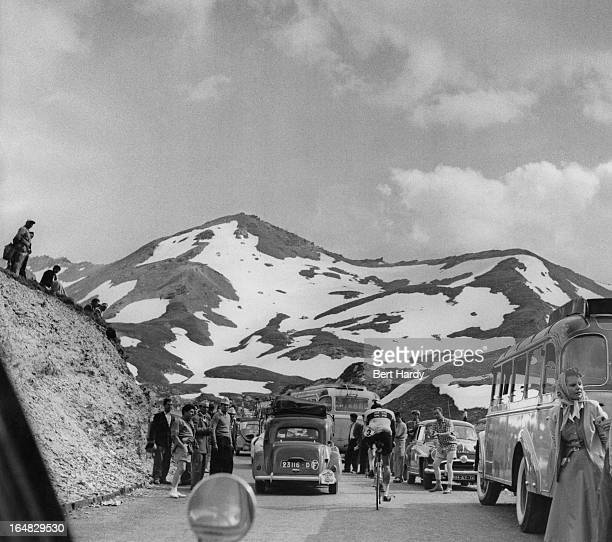 A British rider on a mountain pass during the ninth stage of the Tour de France between Briancon and Monaco 15th July 1955 This is the first tour in...