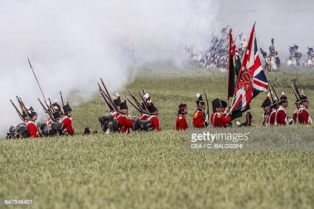 British riflemen with flags Battle of Waterloo 1815 Napoleonic Wars 19th century Historical reenactment