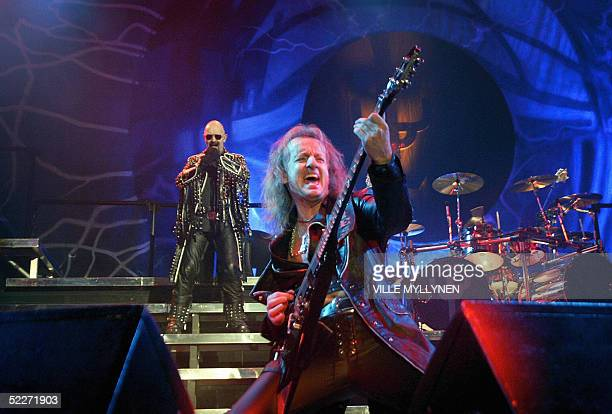 British Rob Halford performs with legendary heavy rock band Judas Priest in Helsinki 03 March 2005 AAFP PHOTO/LEHTIKUVA / STR / VILLE MYLLYNEN