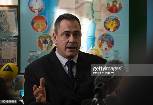 British Robert Lawrie addresses the media on January 14, 2016 in Boulogne-sur-Mer prior to the start of his trial for trying to bring a four-year-old...