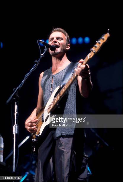 British Rock and Pop musician Sting performs onstage at the Aire Crown Theater, Chicago, Illinois, February 11, 1991.