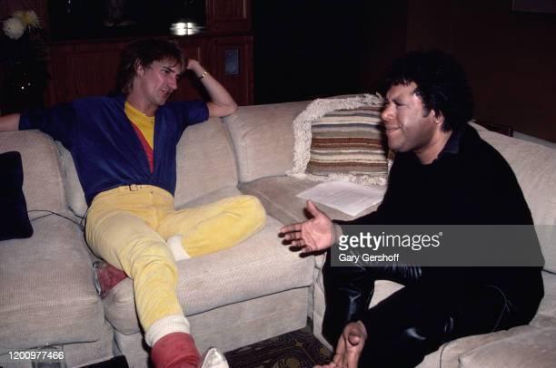 British Rock and Pop singer Rod Stewart is interviewed by American MTV VJ JJ Jackson New York New York February 27 1982