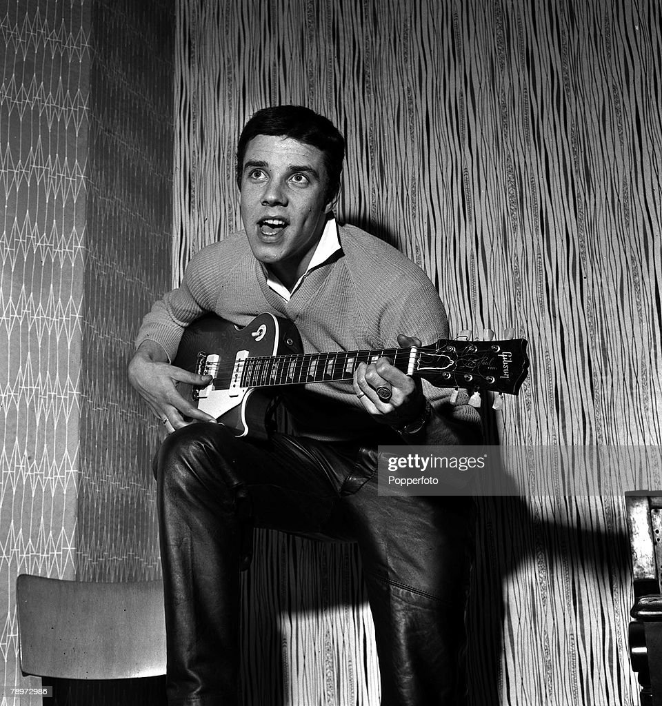 1959. British rock and roll performer Marty Wilde pictured in action. : News Photo