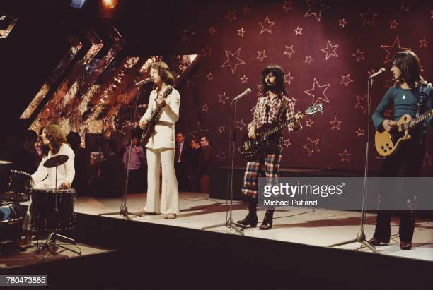 British rock band Badfinger filming a performance of 'Day After Day' to be used as an insert for the 'Top Of The Pops' music show BBC Television...