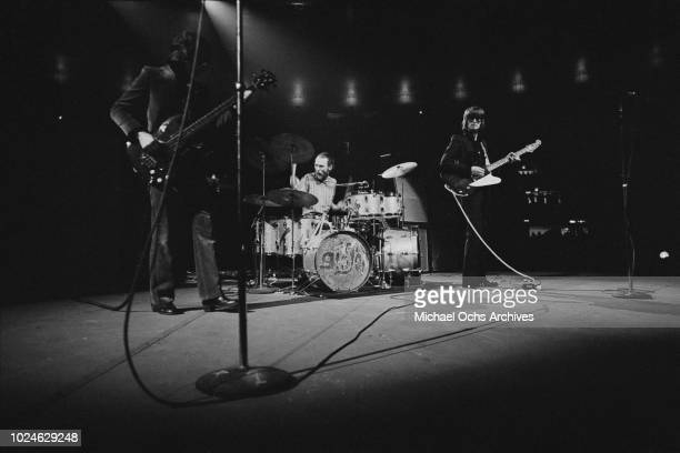 British rock band Cream in concert in Madison Square Garden, New York City, 2nd November 1968. From left to right, they are lead singer Jack Bruce,...
