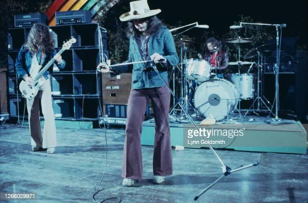 British rock band Deep Purple play California Jam, a rock music festival held at the Ontario Motor Speedway in Ontario, California, 6th April 1974.