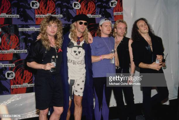 British rock band Def Leppard attend the 1992 MTV Video Music Awards, held at the Edwin W Pauley Pavilion in the Westwood neighbourhood of Los...