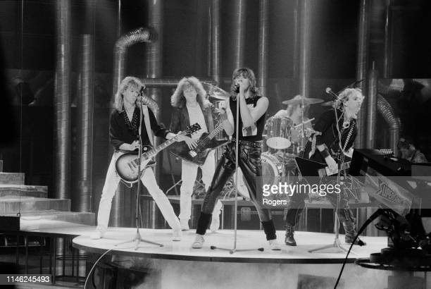 British rock band Def Leppard performing at the Channel 4 Christmas Show UK 12th December 1983 they are Joe Elliott Rick Savage Rick Allen Phil...