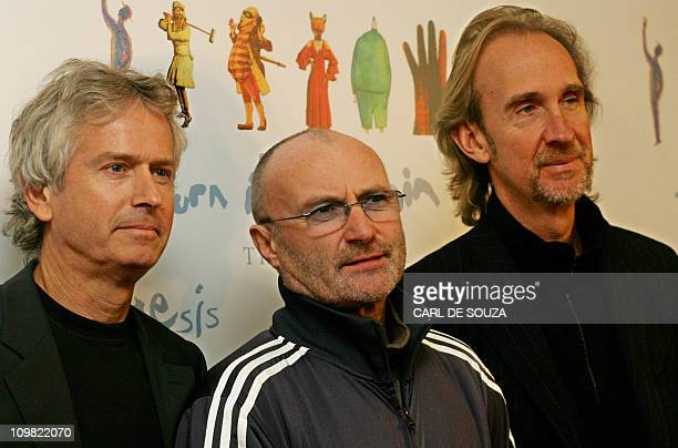 British rock band 'Genesis' members Tony Banks Phil Collins and Mike Rutherford pose for photographs at a hotel in central London 07 November 2006 as...
