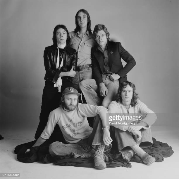 British rock band Genesis UK January 1976 they are Steve Hackett Phil Collins Bill Bruford Tony Banks and Mike Rutherford
