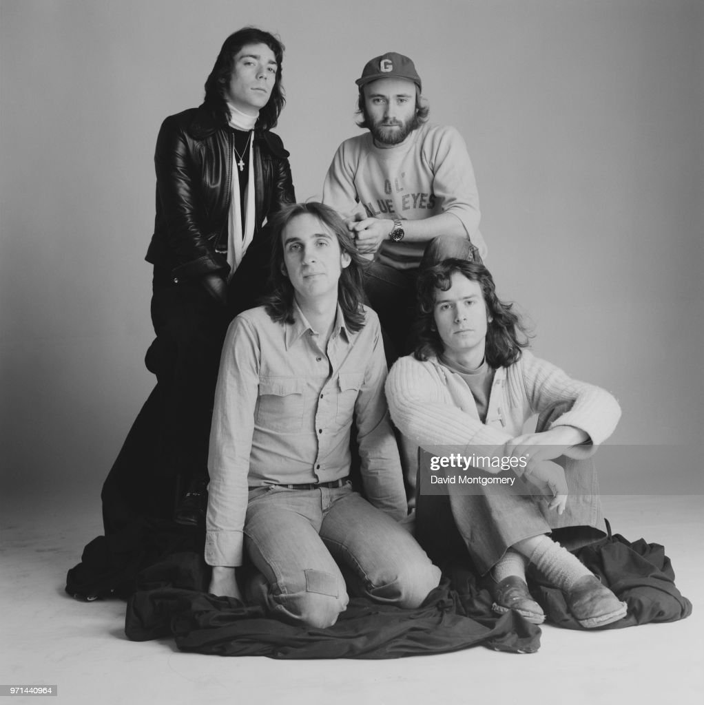 British rock band Genesis, UK, January 1976; they are: Steve Hackett, Phil Collins, Tony Banks and Mike Rutherford.