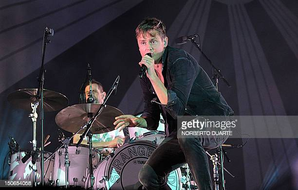 British rock band Keane's Tom Chaplin performs at a concert in Asuncion Paraguay on August 23 2012 AFP PHOTO / Norberto Duarte