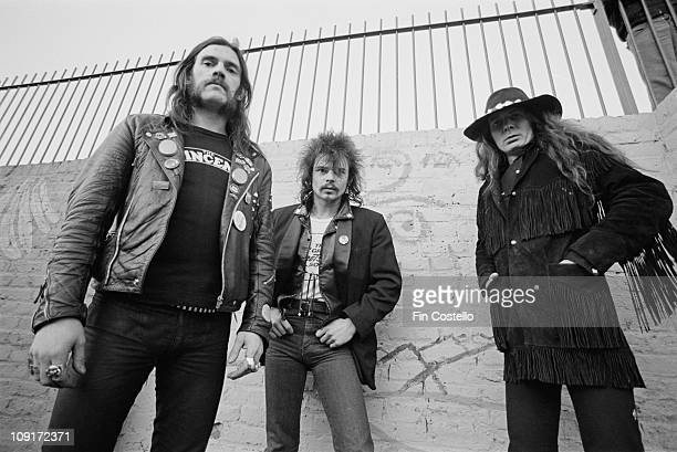 British rock band Motorhead posed in Islington London in December 1980 LR Lemmy Kilmister Phil 'Philthy Animal' Taylor 'Fast' Eddie Clarke