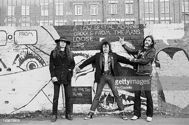 British rock band Motorhead posed in Islington London in December 1980 LR 'Fast' Eddie Clarke Phil 'Philthy Animal' Taylor and Lemmy Kilmister